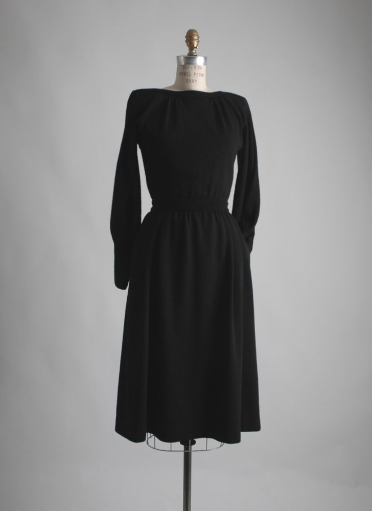 1980s Talbots black wool dress
