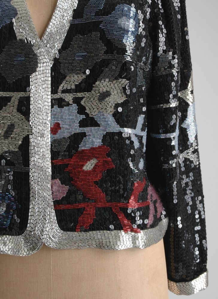 1980s abstract floral design sequin + bead jacket