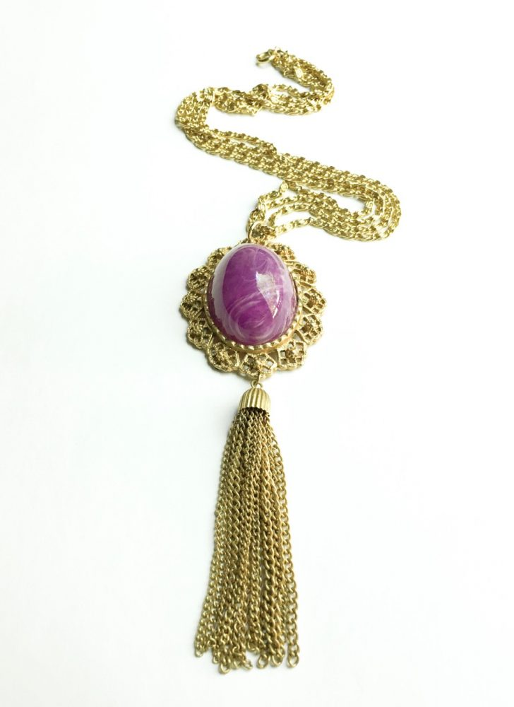 1960s 70s gold-tone chain + purple pendant tassel necklace